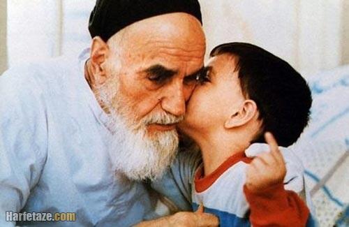 سید علی خمینی کودکی در کنار امام خمینی