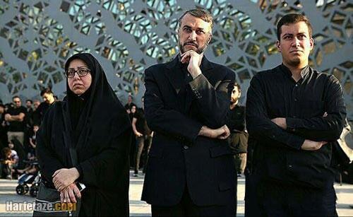 حسین امیرعبداللهیان و همسر و فرزندانش