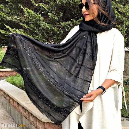 مدل شال مشکی برای محرم 1400 زنانه و دخترانه (روسری مشکی)