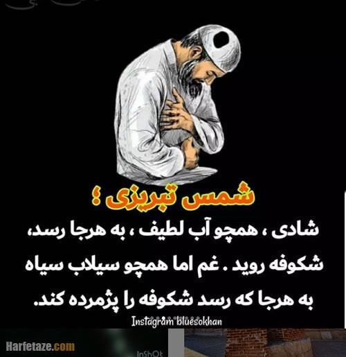 عکس نوشته روز شمس تبریزی 1400