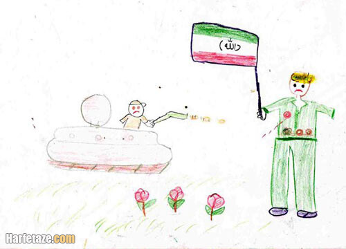 نقاشی جبهه و جنگ برای کلاس چهارم و سوم