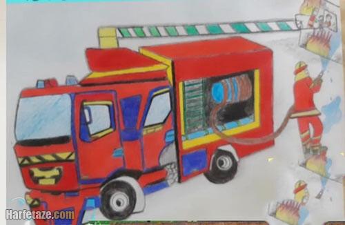 عکسی از نقاشیهای آتش نشان رنگی