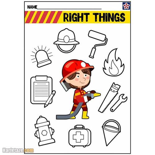 کاربرگ آتش نشان برای پایه ابتدایی