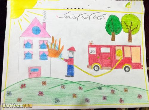 نقاشی مامور آتش نشانی