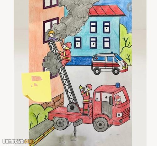 نقاشی آسان و ساده درباره آتش نشان