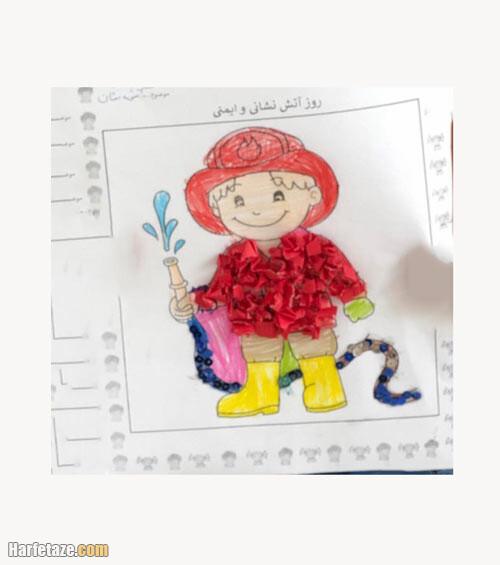 نمونه نقاشیهای ساده از مرد آتشنشان