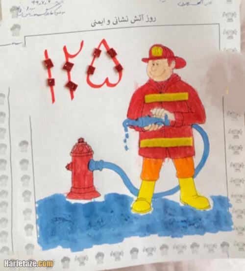 انواع کاربرگ و نقاشی آتش نشان و روز آتش نشانی برای رنگ امیزی با کیفیت عالی + دانلود