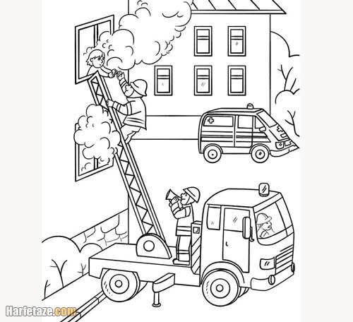 نقاشی کودکان در مورد آتش نشانی