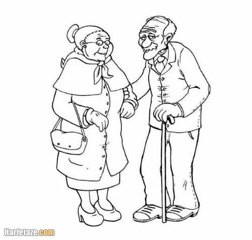 نقاشی روز سالمند ساده و آسان